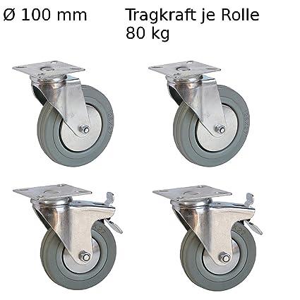 4 pieza Muebles ruedas 2 ruedas con freno, 2 ruedas para muebles 100 mm Transporte