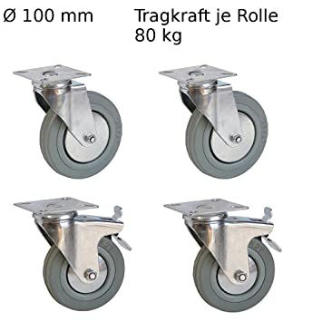 4 pieza Muebles ruedas 2 ruedas con freno, 2 ruedas para muebles 100 mm Transporte rollo ruedas ruedas ruedas cargas pesadas 80 kg: Amazon.es: Bricolaje y ...