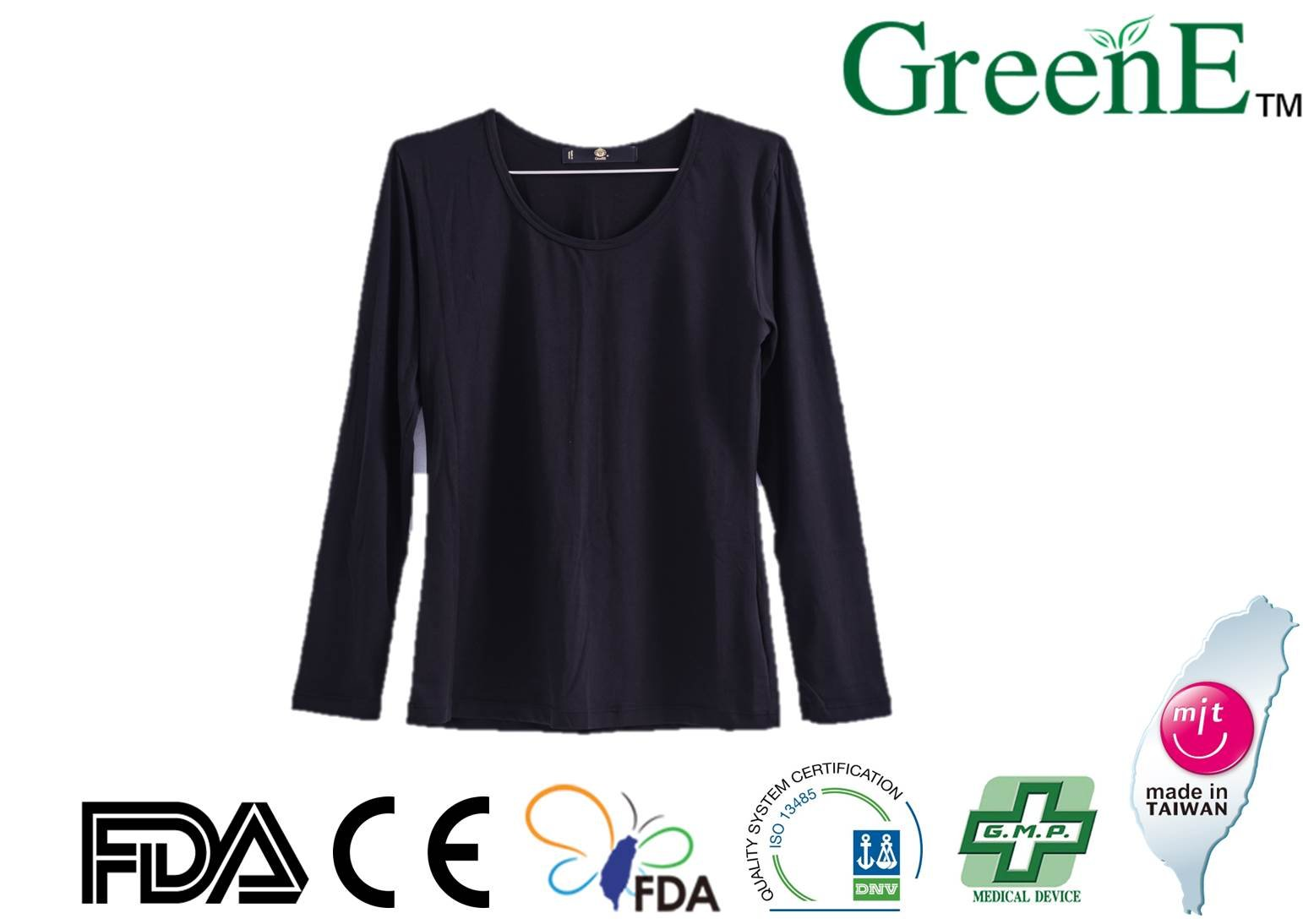 GreenE Long Sleeve Shirt Women's Funtion Warm Fitness Exercise Color Black Size L