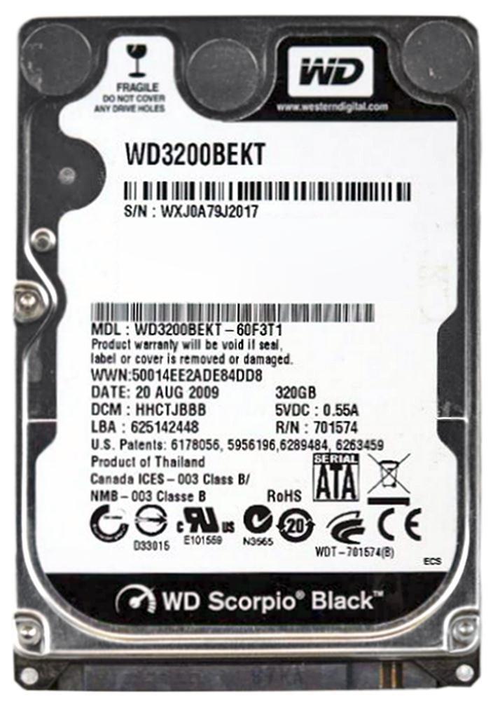 Western Digital Wd Scorpio Black Wd3200bekt - Hard Drive - 320 Gb - Sata-300 (wd3200bekt)