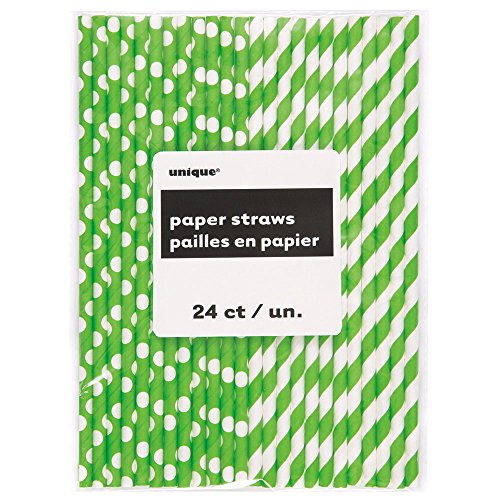 Lime Pattern Paper - Lime Green Polka Dot & Striped Paper Straws, 24ct