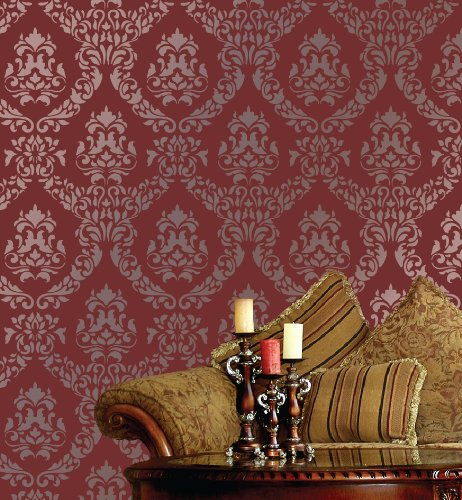 Large Wall Damask Stencil Faux Mural Design #1016 24 x 10 4/8 by Lightsforever 24