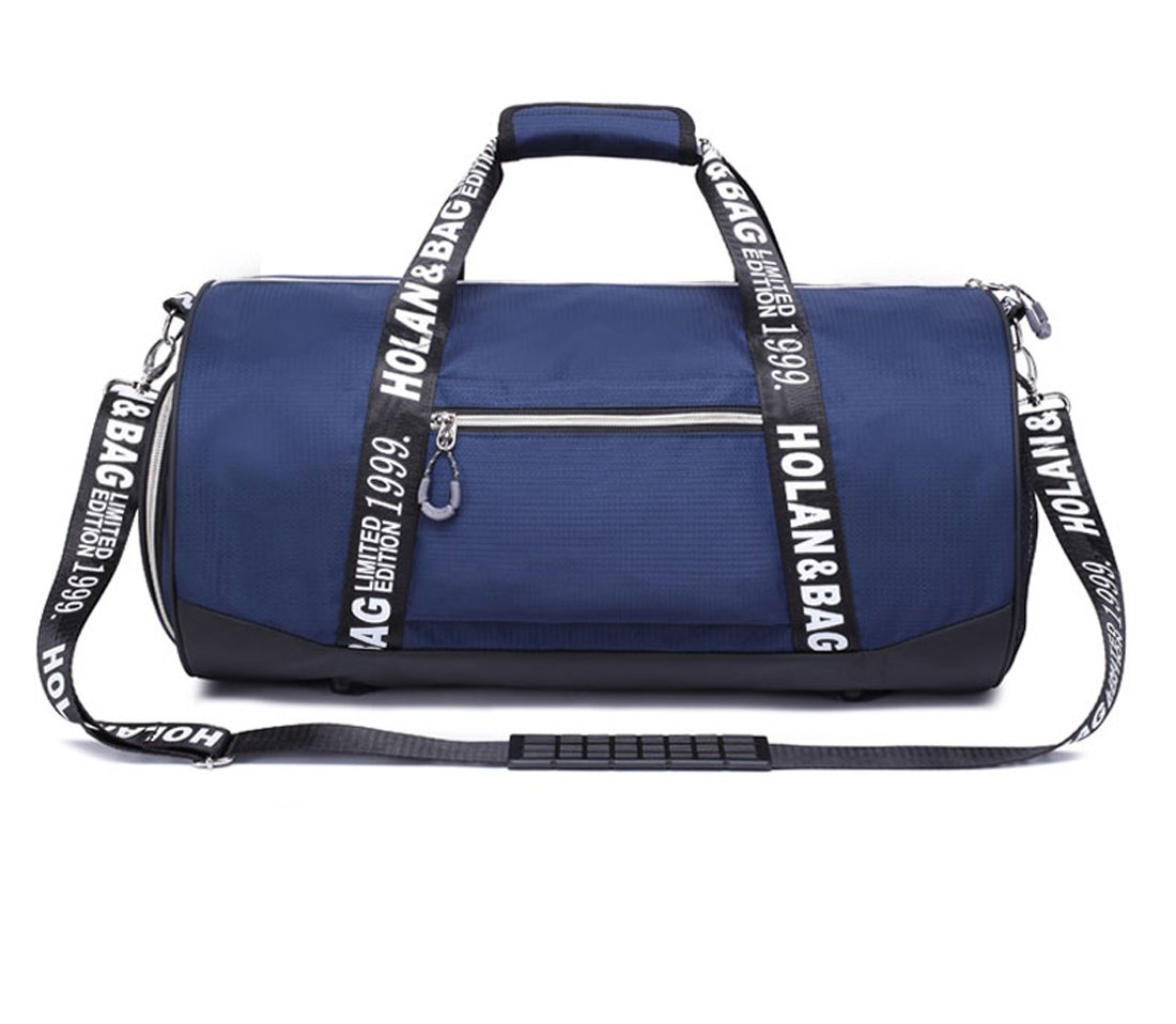 M-CORNER Men Nylon Gym Bag Drum tote Fitness Shoulder Bag Handbag Messenger Daypacks leisure travel sport blue