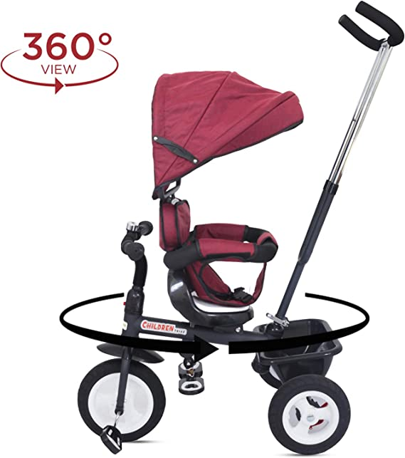 Baybee Mario Sportz - The Stylish Plug and Play Baby Tricycle with Canopy and Parent Control with Reversible Seat ( (Now with Rubber Wheels)