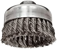 """Weiler Wire Cup Brush, Threaded Hole, Stainless Steel 302, Partial Twist Knotted, 4"""" Diameter, 0.023"""" Wire Diameter, 5/8""""-11 Arbor, 1-1/4"""" Bristle Length, 9000 rpm (Pack of 1)"""