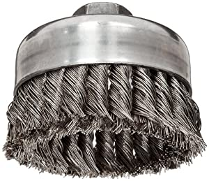 "Weiler Wire Cup Brush, Threaded Hole, Stainless Steel 302, Partial Twist Knotted, 4"" Diameter, 0.023"" Wire Diameter, 5/8""-11 Arbor, 1-1/4"" Bristle Length, 9000 rpm (Pack of 1)"