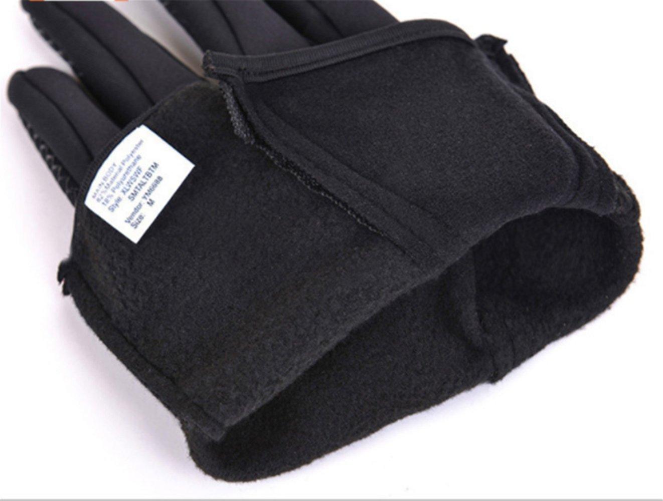 Waterproof Touchscreen Cycling Gloves Winter Warm Full Finger Outdoor Ski Snow Bike Women Men Adjustable Size Glove for Smart Phone,Black,M /Plam width:3.14in by HILEELANG (Image #6)