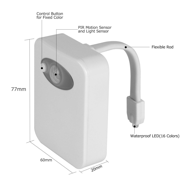 Lámpara de inodoro LED Luz de WC 16 Colores con Sensor de Movimiente Iluminación Nocturna para Niños Luz Automática de Movimiento Activado Luz de Cuarto de ...