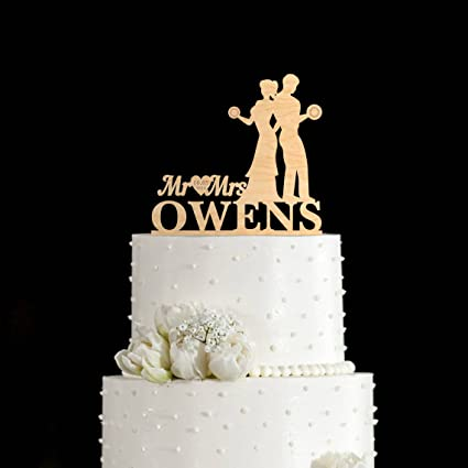 Amazon.com: Susie85Electra Weight Lifting Wedding Cake Toppers,Funny ...
