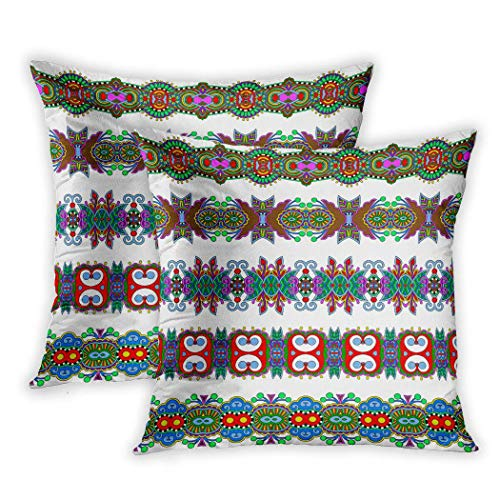 Houlor Set of 2 Throw Pillow Covers Seamless Ethnic Floral Paisley Stripe Border Polygraphy Or Web Raster Version 16 X 16 Inches Cushion Pillowcase for Living Room Bedroom Dorm Hidden Zipper
