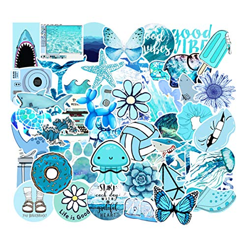 Stickers for Water Bottles 50 pcs Laptop Stickers Waterproof Stickers Pack Cute Aesthetics Stickers for Teens Girls (Blue sea)
