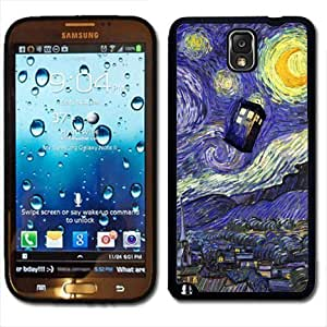 Samsung Galaxy Note 3 Black Rubber Silicone Case - Dr Who Tardis Starry Night Painting Phone Booth Call Box Blue