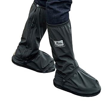 Botas impermeables, fundas de lluvia para zapatos, color negro, antideslizantes, reutilizables, para mujeres y hombres, negro, Large: Amazon.es: Deportes y ...
