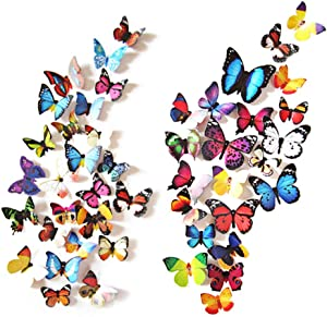 Eoorau 80PCS Butterfly Wall Decals - 3D Butterflies Decor for Wall Removable Mural Stickers Home Decoration Kids Room Bedroom Decor