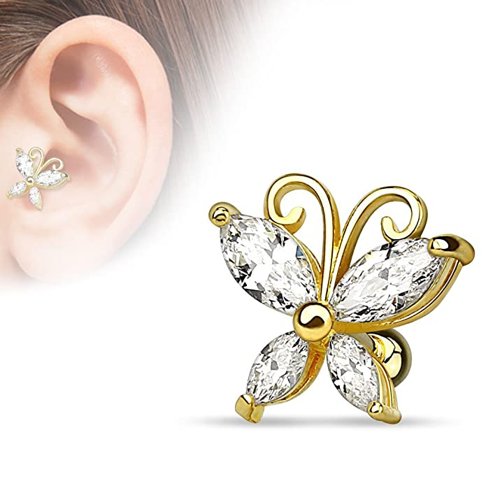 71ea7daa293f3 Marquise Cut CZ Butterfly Tragus Barbell 316L Surgical Steel Cartilage Bar  Helix Piercing 16g