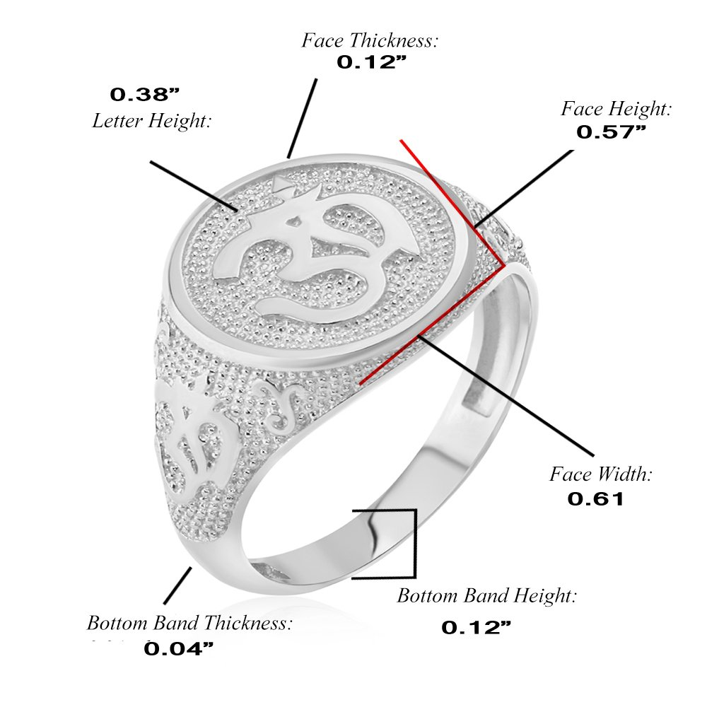 Men's 925 Sterling Silver Textured Band Hindu Om (Aum) Yoga Ring (Size 7) by Men's Fine Jewelry (Image #1)