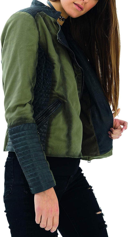 trueprodigy Casual Mujer Marca Chaqueta Moto Basico Ropa Retro Vintage Rock Vestir Moda Deportivo Slim Fit Designer Fashion Jacket con Detalles de Cuero