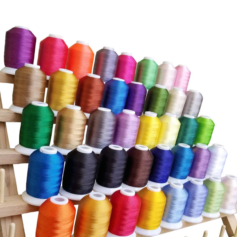 CraftsOpoly Embroidery Machine Polyester Thread with Locking Spools of 40 Brother Colors In Storage Box. Suitable for DIY Hand Craft Projects and Compatible with Janome Pfaff Bernina Babylock Machines by CraftsOpoly Polyester Embroidery Thread