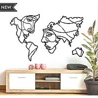 Hoagard Mappa del Mondo Metallo | Volti Della Mappa Del Mondo | Faces of World Map | Decorazione da Parete | 105 cm x 68 cm, Ottima Idea Regalo Originale e Unica