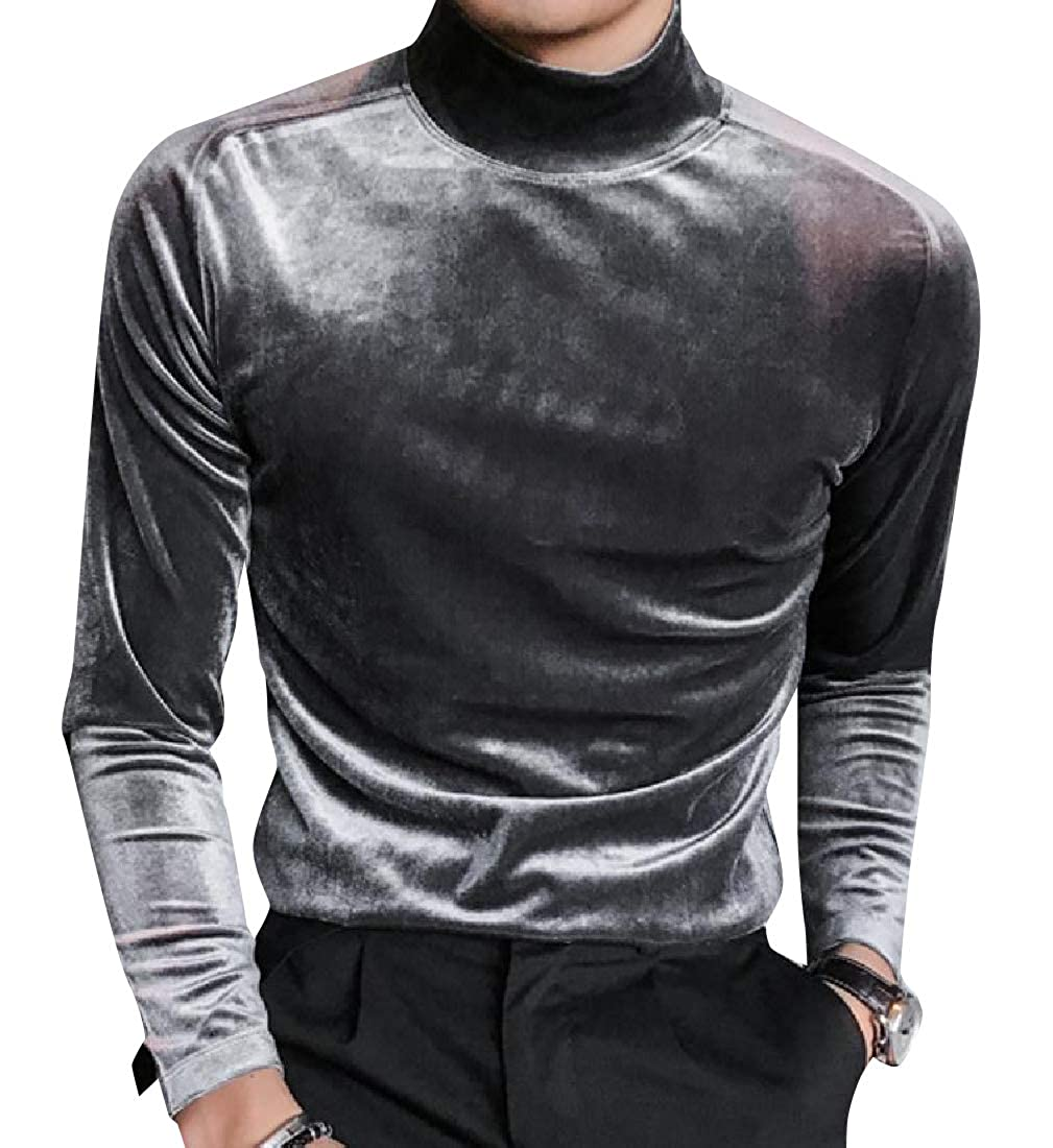 Winwinus Men Classic Fit Long-Sleeve Warm Velvet Fashion Tees Shirt