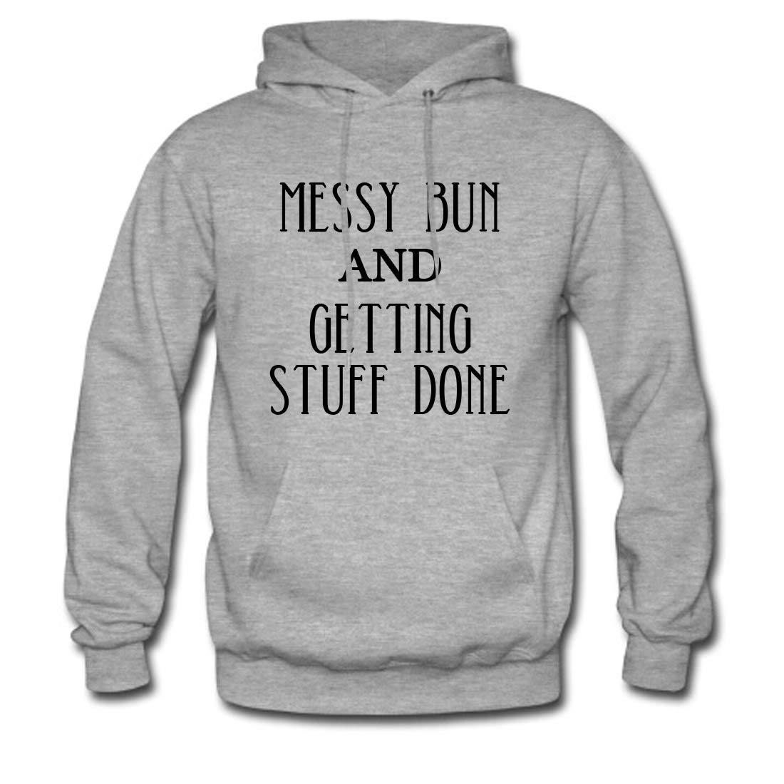 7828ce50579 Men's Classic Pullover Hoodie Sweatshirt, Messy Bun and Getting Stuff Done  Print at Amazon Men's Clothing store: