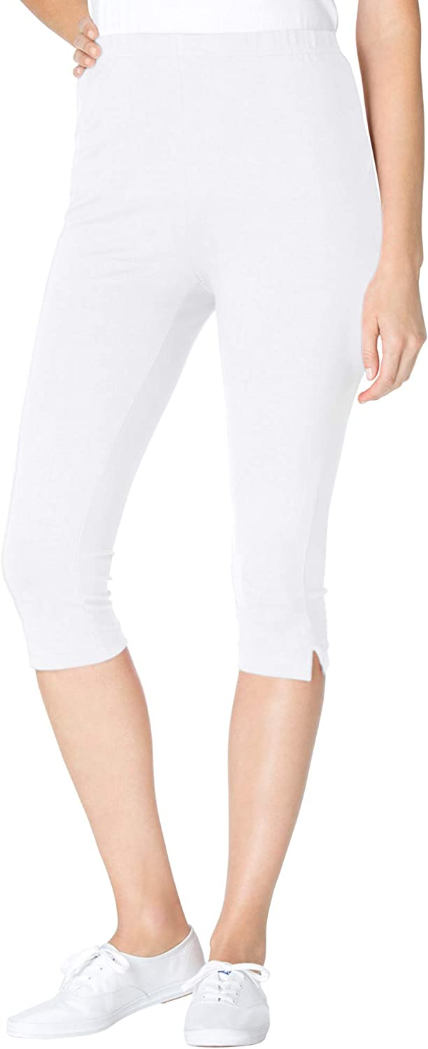 Woman Within Womens Plus Size Petite Stretch Cotton Capri Legging