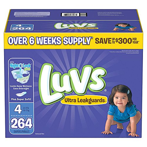 Branded Luvs Ultra Leakguards Diapers - Diaper Size Size 4 - 264 Ct. (Bulk Qty at Whoesale Price, Genuine & Soft Baby diaper) by Product of Luvs