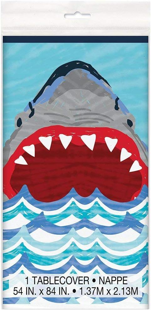 """Unique Shark Party Plastic Tablecloth, 84"""" x 54"""""""