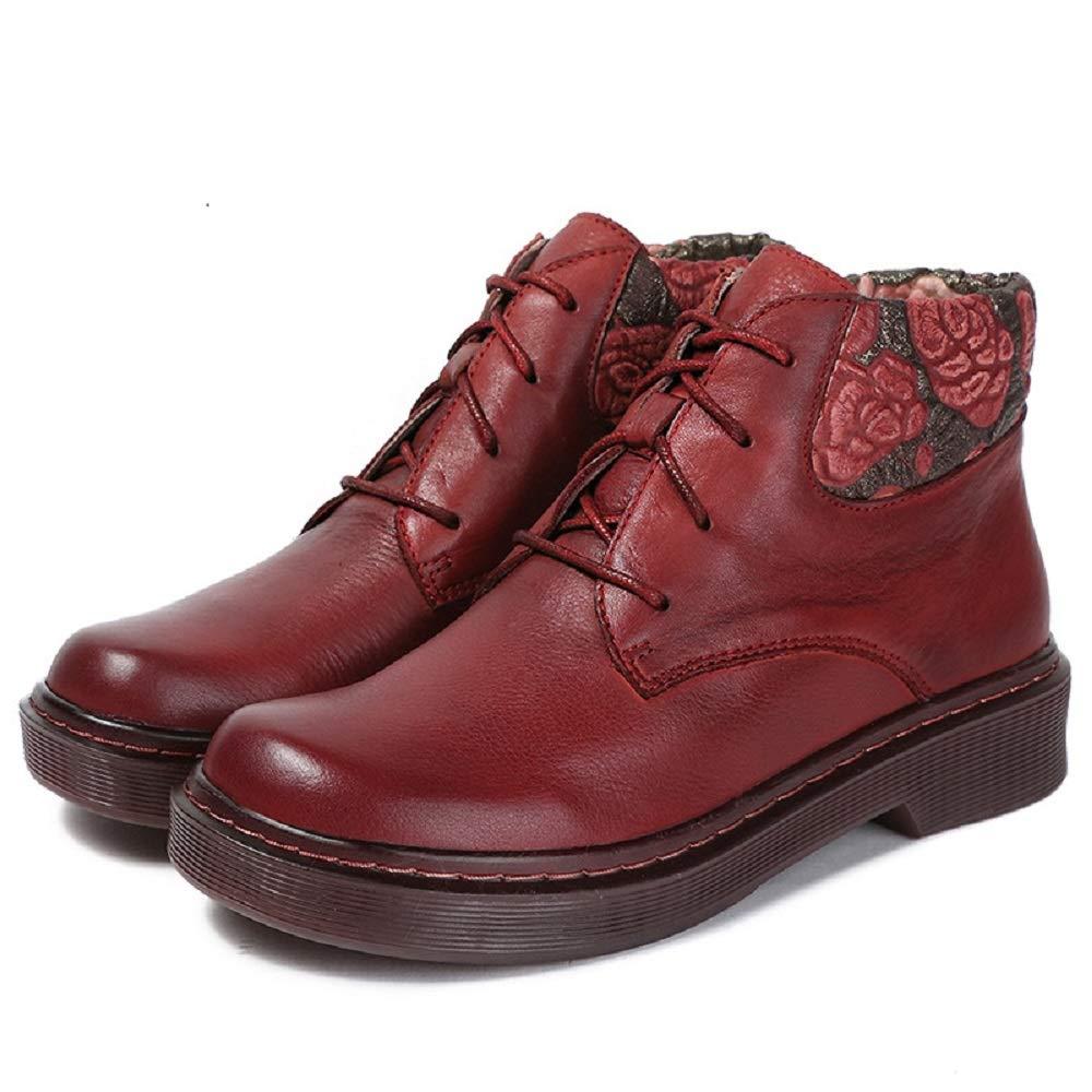 Fuxitoggo Frauen Blaumenprint Stiefel Leder Schnürschuhe Vintage Martin Schuhe (Farbe   Rot, Größe   EU 36)