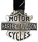 Harley Davidson Motorcycle Pocket Watch Fob with Black Leather Strap