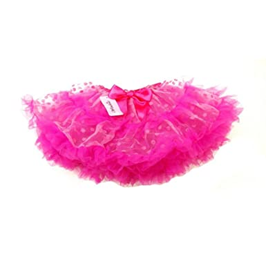 Amazon.com  Pink Dots Fluffy Trim Tutu Skirt Girls L  Clothing 91b434609