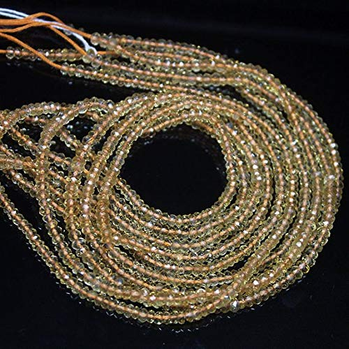 Beads Bazar Natural Beautiful jewellery Natural Golden Yellow Citrine Fancy Faceted Rondelle Micro Gemstone Craft Loose Beads Strand 13