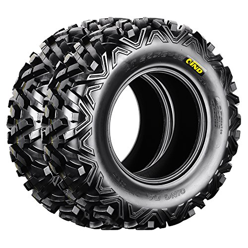 Qind QD-518 ATV Tires 25x8-12 6 Ply Load C Pack of 2 (Rubber Bumper Swing)