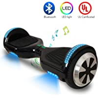 VEEKO Hoverboard Self Balancing UL 2272 Certified Bluetooth Speaker RGB LED Color Changing Light 6.5'' Two-Wheel Solid Rubber Tires 2-4 HS Fast Charge Max 8-11KM Best Gifts for Holiday Season Black