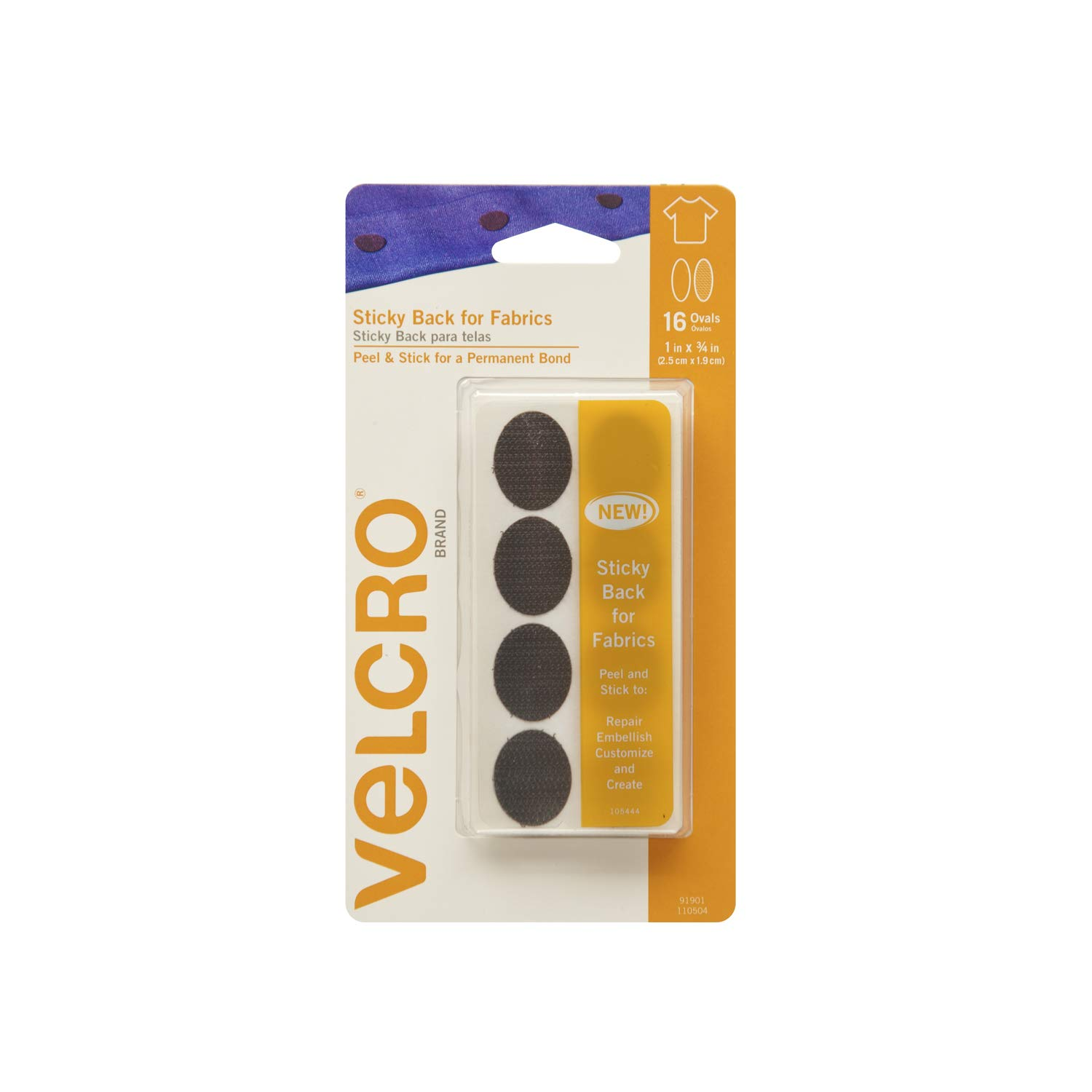 VELCRO Brand-Sticky Back for Fabrics: No Sewing Needed-24-Inch X 3/4-Inch Tape-White VELCRO® Brand 91872