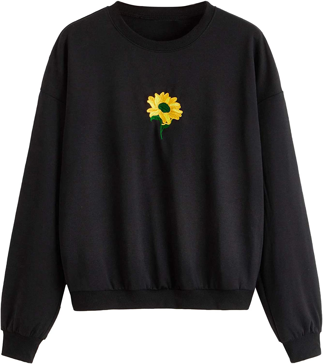 SOLY HUX Women's Casual Floral Embroidery Long Sleeve Round Neck Pullover Sweatshirt