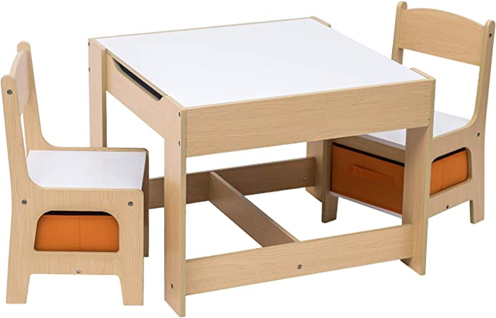 E-starain Infantil de Mesa y Asientos para Niños Juego de Muebles para Niños, 1 Mesa Infantil con 2 Sillas Conjunto Escritorio y Sillas de Jardín LRGOI0002: Amazon.es: Hogar