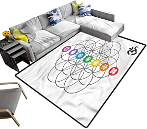 Sacred Geometry, Area Rug Chakra Point Rings Anti-Static, Water-Repellent Rugs Great for Playing with Cars and Toys, 3'x 5'