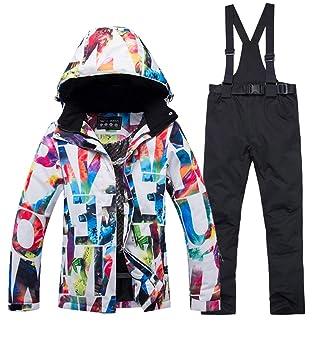DUBAOBAO Trajes de esquí de Mujer, Trajes de Camping de esquí de Invierno,Traje de Pantalones de esquí cálido a Prueba de Viento e Impermeable