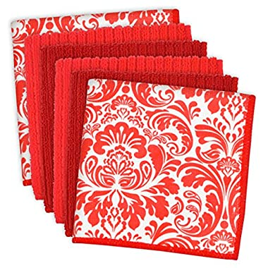 DII Cleaning, Washing, Drying, Ultra Absorbent, Microfiber Damask Dishcloth 12x12  (Set of 6) - Red