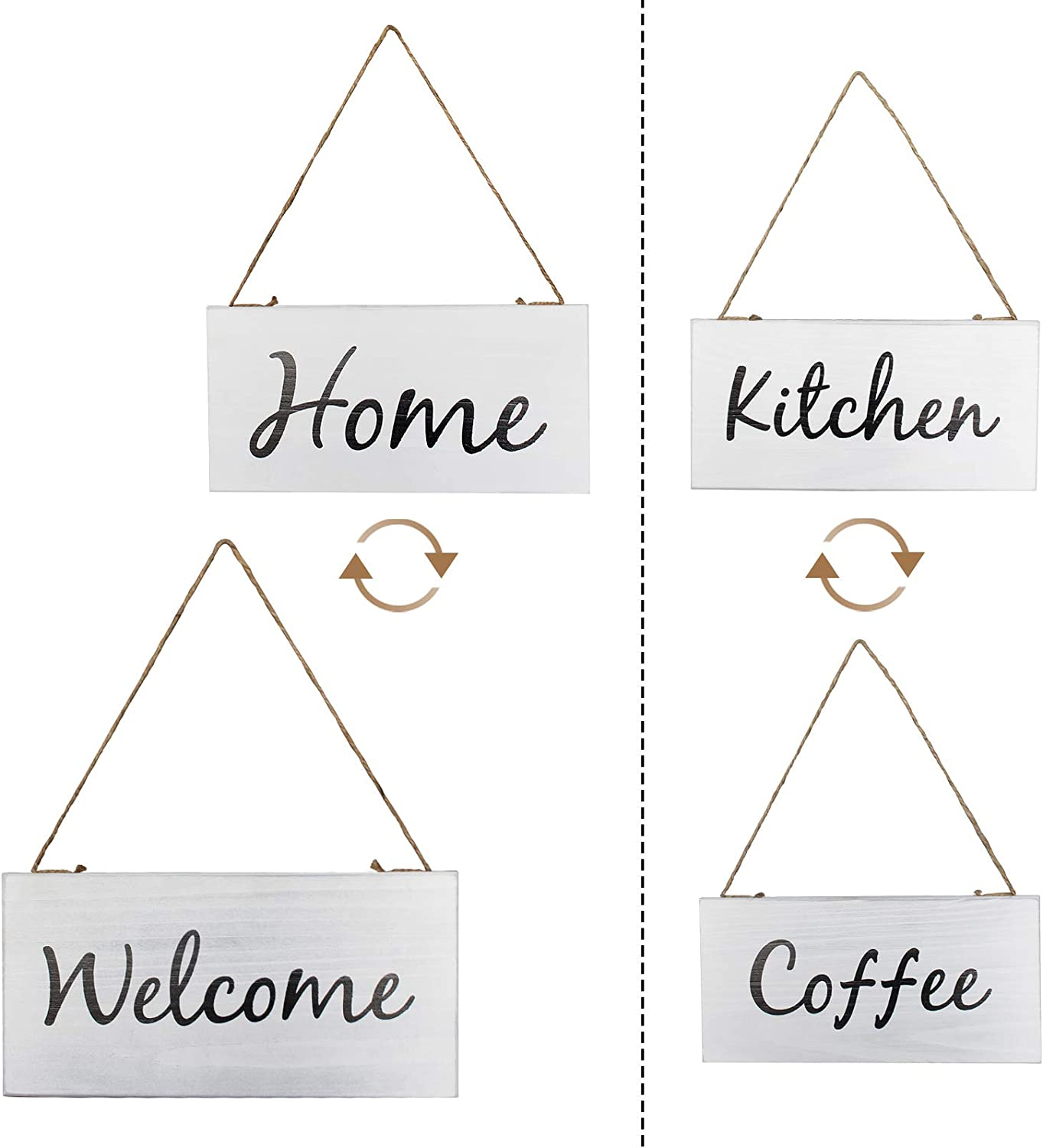 Y&ME YM Rustic Wood Wall Welcome Signs Set of 2, Reversible Sides Wooden Farmhouse Home or Welcome Sign, Restaurant, Kitchen or Coffee Sign, Wood Hanging Sign for Door