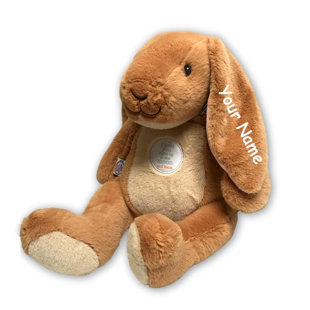 Kids Preferred Personalized Nutbrown Hare I Love You to Right Up to The Moon and Back Sitting Bunny Plush Stuffed Animal Toy with Embroidery - 12 Inches by Kids Preferred