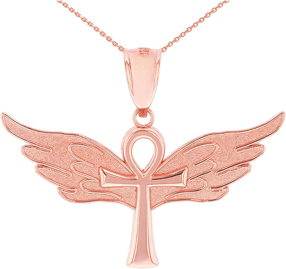 CaliRoseJewelry 14k Ankh Cross Angel Wing Charm Pendant Necklace
