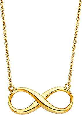 14K Infinity Pendant with Chain Rose or White Gold Yellow
