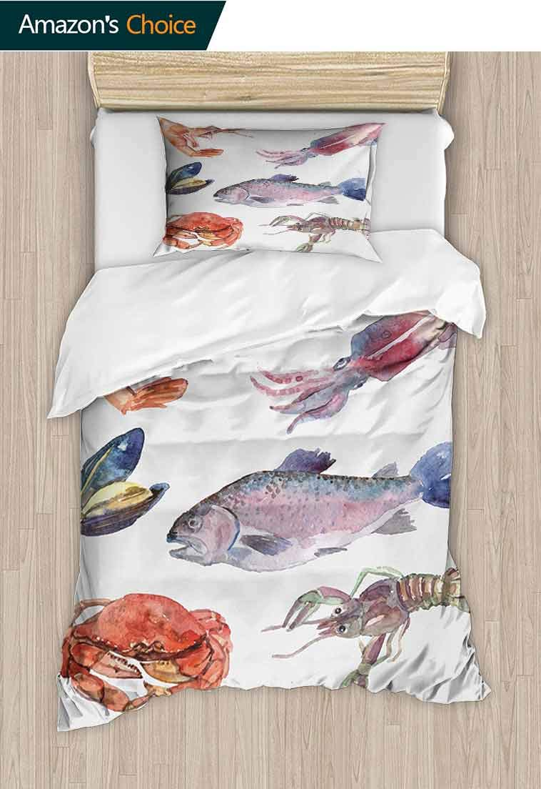 Sea Animals Printed Quilt Cover and Pillowcase Set, Sea Food Illustration with Shrimp Mussel Fish Crab Watercolor Painting Effect, Reversible Coverlet, Bedspread, Gifts for Girls Women Mustard Navy