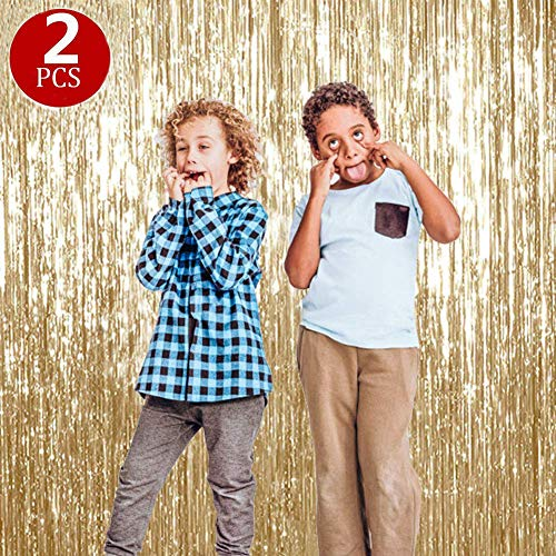 Pale Champagne Metallic Tinsel Foil Fringe Curtain,KKONETOY 2 Pack of Large 3.2 ft x 9.8 ft Metallic Tinsel Foil Fringe Curtains For Birthday,Wedding,Bridal Shower,Engagment Party Decoration Backdrop