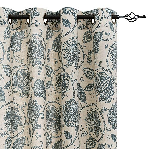 (Floral Scroll Printed Linen Curtains, Grommet Top - Ikat Flax Textured Medallion Design Jacobean Floral Printed Curtains Retro Living Room Curtain Sets (Teal, 95 inch Long, One Pair))