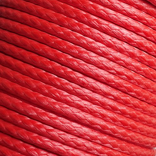 emma kites Red UHMWPE Braided Cord High Strength Least Stretch Tent Tarp Rain Fly Guyline Hammock Ridgeline Suspension for Camping Hiking Backpacking Survival Recreational Marine Outdoors 100Ft 580Lb by emma kites (Image #1)