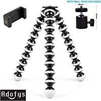 Adofys Flexible Gorillapod Tripod with 360° Rotating Ball Head Tripod for All DSLR Cameras(Max Load 1.5 kgs) & Mobile Phones + Free Heavy Duty Mobile Holder(Black) (with Ball Head, Black and White)