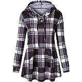 a86ed66965b9 Manteau à Carreaux Femme Sweat-Shirt Sport Hoodies Tunique Long Pullover  Blouson Sweatshirt Col Haut Pas…